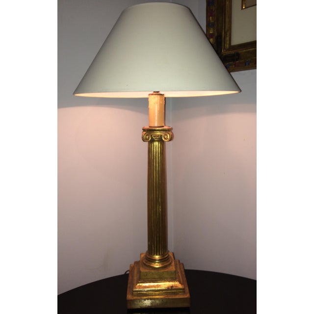 Traditional Gilt Ionic Table Lamp For Sale - Image 3 of 5