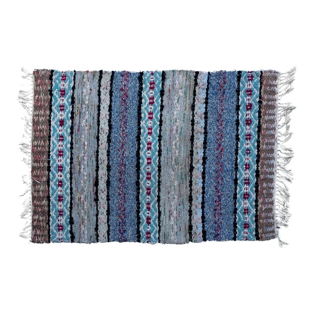 """Handwoven Vintage Swedish Rug by Scandinavian Made 38"""" X 26"""" For Sale"""