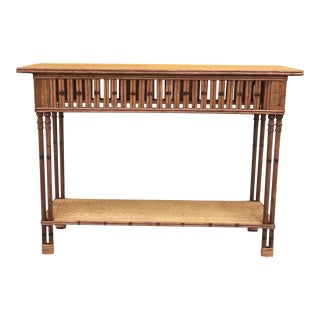 Handcrafted Rattan Accent Table For Sale