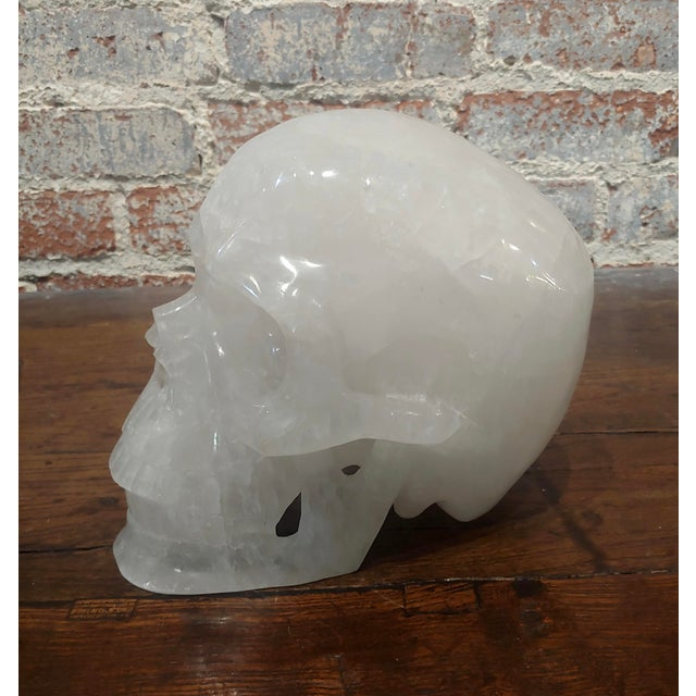 "Fabulous Large Vintage Quartz Rock Crystal Skull Sculpture size 9 x 6 x 7"" A beautiful piece that will add to your décor!"