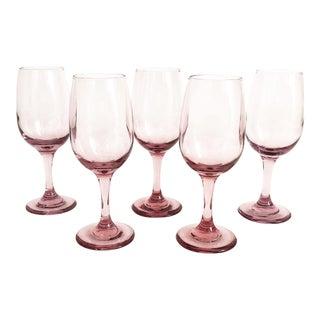 Vintage Lilac Wine Glasses - Set of 5 For Sale