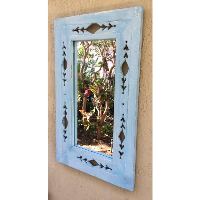 Vintage Hand Carved Wood Mirror For Sale - Image 4 of 11