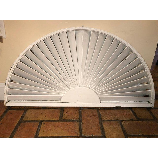Country Antique Architectural Demilune Sunburst Window Fragment For Sale - Image 3 of 13