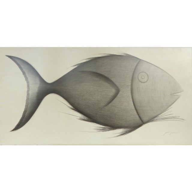"""Fish"" is a monumental drawing by Yuri Zatarain (1972) a Mexican painter, sculptor and engraver. Signed by the artist..."