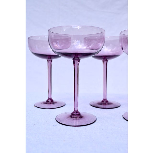 Mid 20th Century Amethyst Crystal Champagne Coupes For Sale - Image 5 of 7