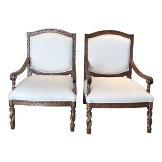 Carved Wood Montecito Style Chairs - a Pair