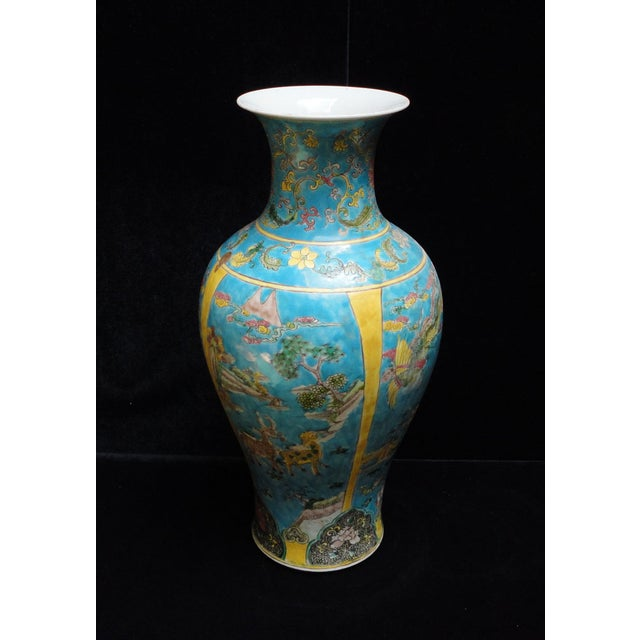 Asian Chinese Porcelain Blue Base Animals Decor Vase For Sale - Image 3 of 6