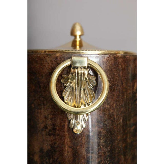 Aldo Tura Goatskin and Brass Tilted Ice Bucket - Image 7 of 9