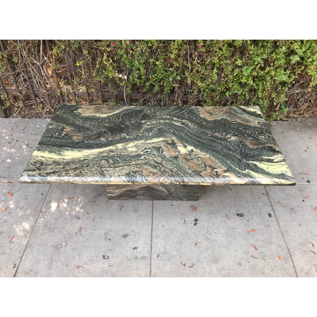 1970s Organic Modern Solid Black & Cream Marble Coffee Table For Sale - Image 9 of 10