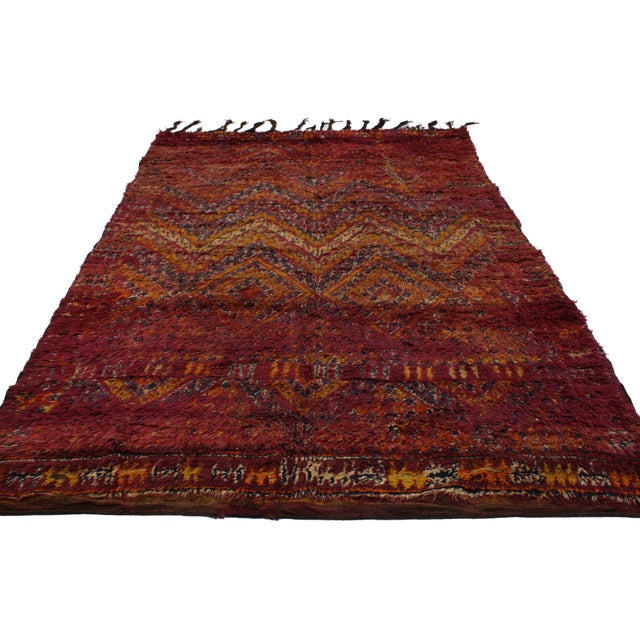 Boho Chic Berber Moroccan Rug in Raspberry -- 5'9 X 9'10 For Sale - Image 3 of 5