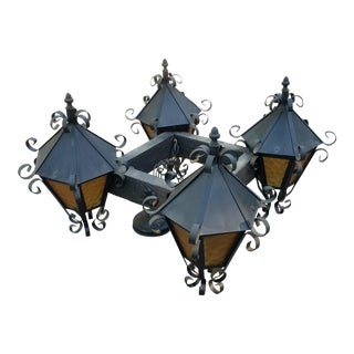 Spanish Gothic Medieval Wrought Iron Chandelier For Sale
