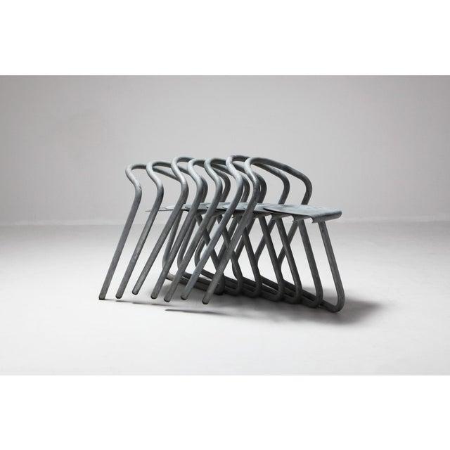 Metal Danish Stackable Chairs in Galvanized Steel by Erik Magnussen, Set of Nine For Sale - Image 7 of 10