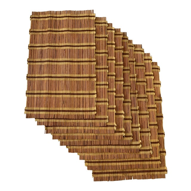 Maria Kipp Style Mid-Century Wood Woven Placemats - Set of 9 For Sale