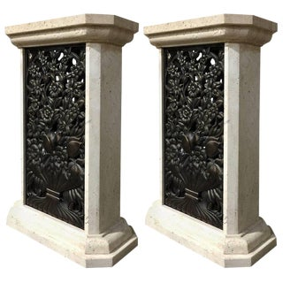 Pair of Mid-Century Travertine and Bronze Floral Motif Pedestals