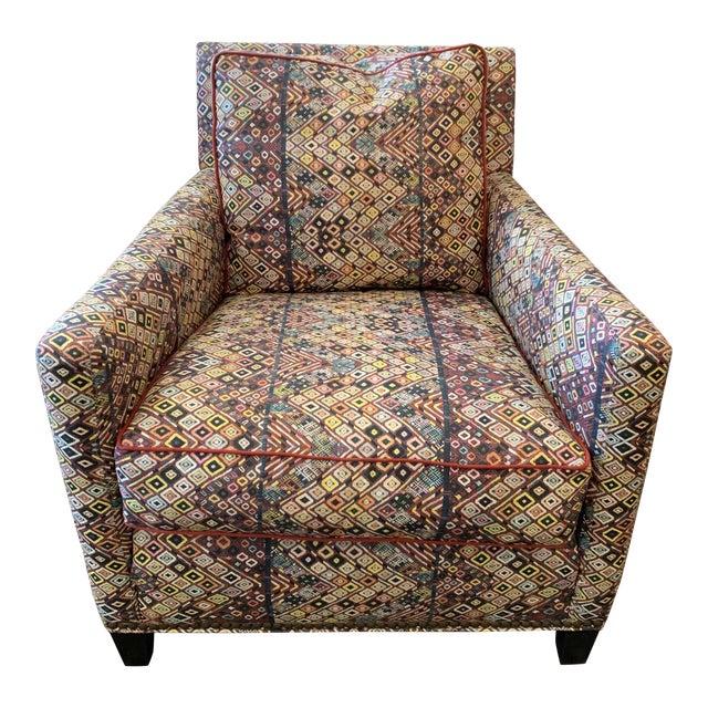 Custom Club Chair in St. Frank Fabric For Sale