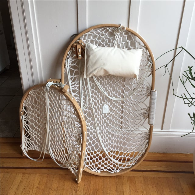 Bent Oak Rope Hanging Hammock Chair With Foothold - Image 2 of 7