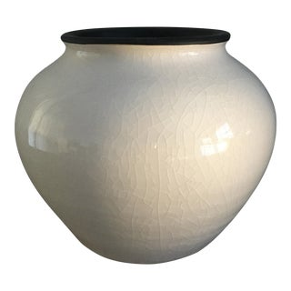Vintage Crackle White Ceramic Vase