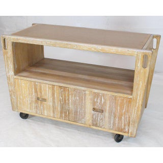 1970s Arts & Crafts Adze Cut Ceruised Oak Finish Serving Cart Bar on Wheels Preview