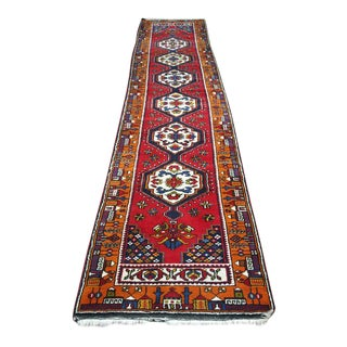 Antique Yahyali Hand Knotted Wool Oriental Runner Rug - 2′6″ × 12′ For Sale