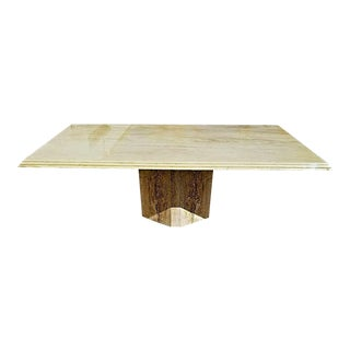 "Ello Style Vintage Polished Italian Travertine Marble Dining Table 80"" X 39"" For Sale"
