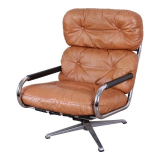 Milo Baughman for Directional Chrome and Leather Swivel Lounge Chair For Sale