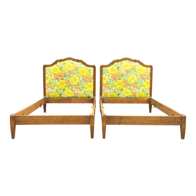 Vintage Upholstered Twin Bed Frames - a Pair For Sale