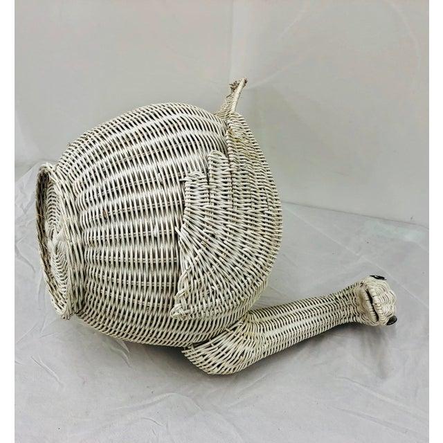 Vintage Woven Wicker Swan Bird Basket For Sale - Image 9 of 11