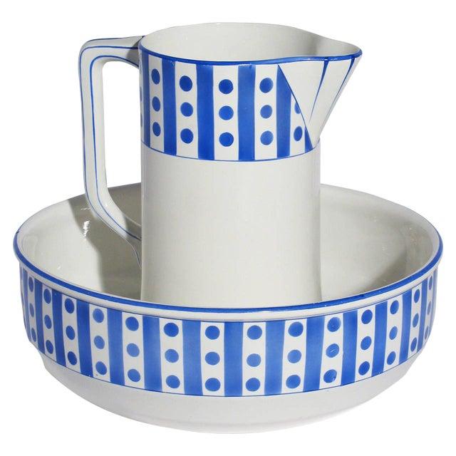 Large Belgian Porcelain Pitcher and Bowl - Image 1 of 9