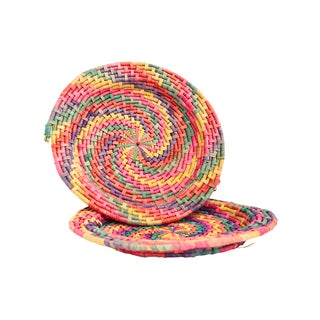 Multi-Colored Raffia-Like Platter - Pair
