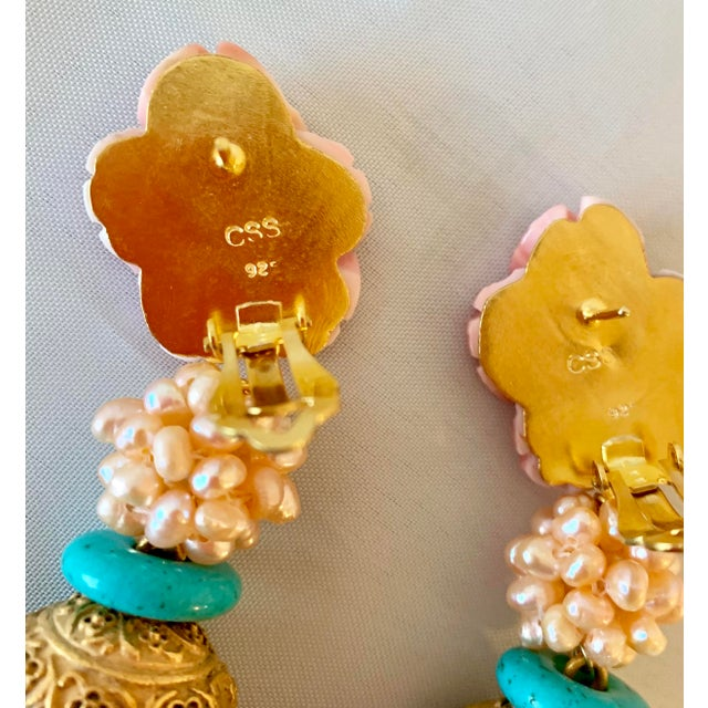Modern Pink Scallop Shell Earrings For Sale - Image 3 of 4