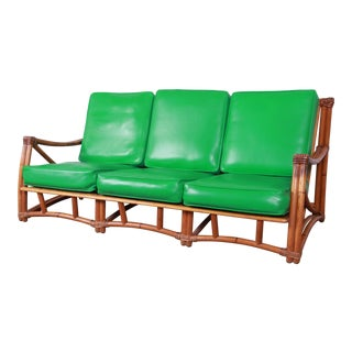 Heywood Wakefield Hollwood Regency Mid-Century Modern Rattan Sofa For Sale