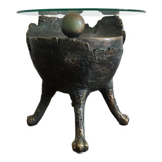 Vintage Faux Bronze Brutalist Side Table