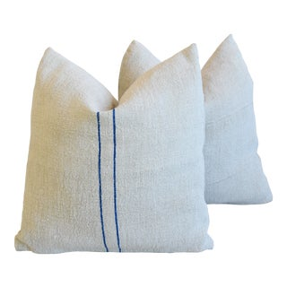 """Blue Striped French Farmhouse Grain Sack Feather/Down Pillows 22"""" Square - Pair For Sale"""