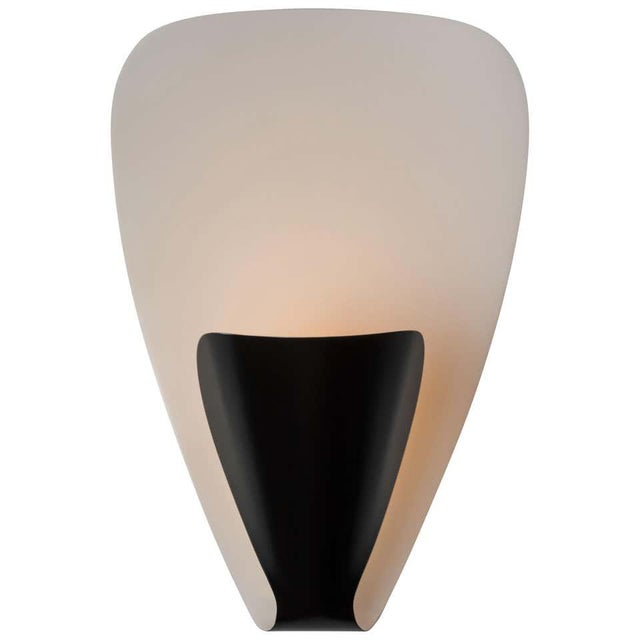 Michel Buffet 'B206' black and white wall lamp. Originally designed in 1953, this clean later production pair is still...