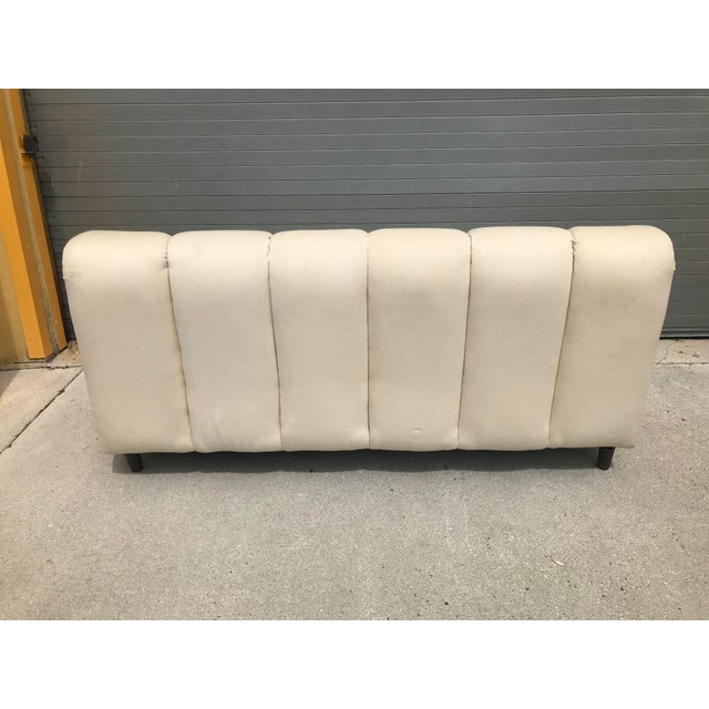 Bernhardt Flair Mid-Century White Ribbed Sofa - Image 4 of 5