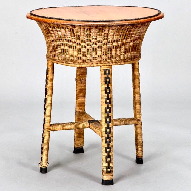 1920's Round Wicker Side Table - Image 2 of 4
