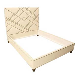 Custom Made Upholstered Bed With Bronze Nail Heads For Sale