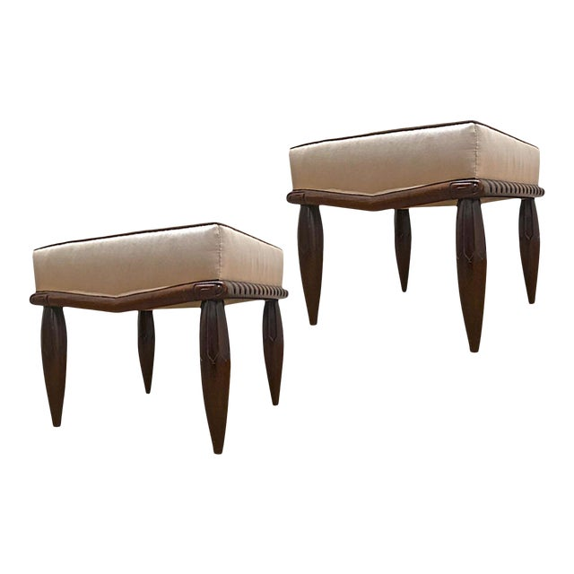 Georges De Bardyere Art Deco Refined Carved Pair of Stools Newly Recovered in Skin Silk For Sale