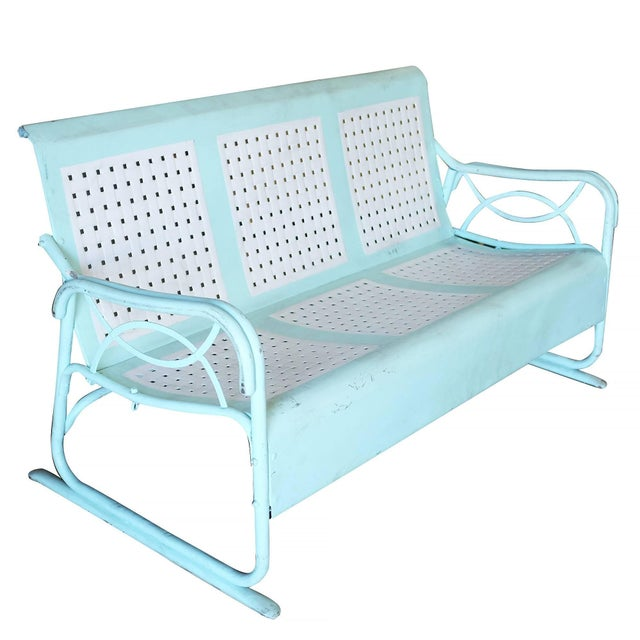 Metal Mid-Century Woodard Style Three-Person Steel Garden Lounge For Sale - Image 7 of 7