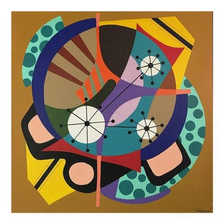 "Abstract Acrylic Painting ""Sparkling Wheel"" by Amauri Torezan For Sale"
