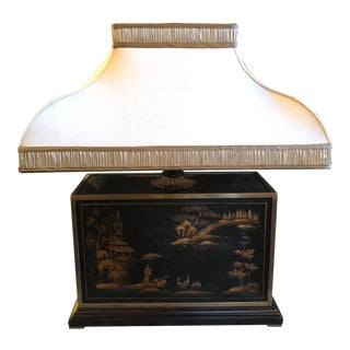 Chinoiserie Hand Painted Chocolate Table Lamp With Custom Shade For Sale