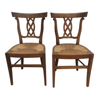 1930s Rush Woven Side Chairs - a Pair For Sale