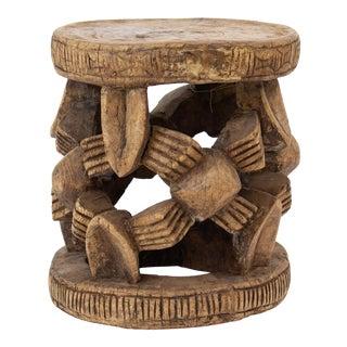 Vintage Mid Century Bamileke Carved Wood African Stool For Sale