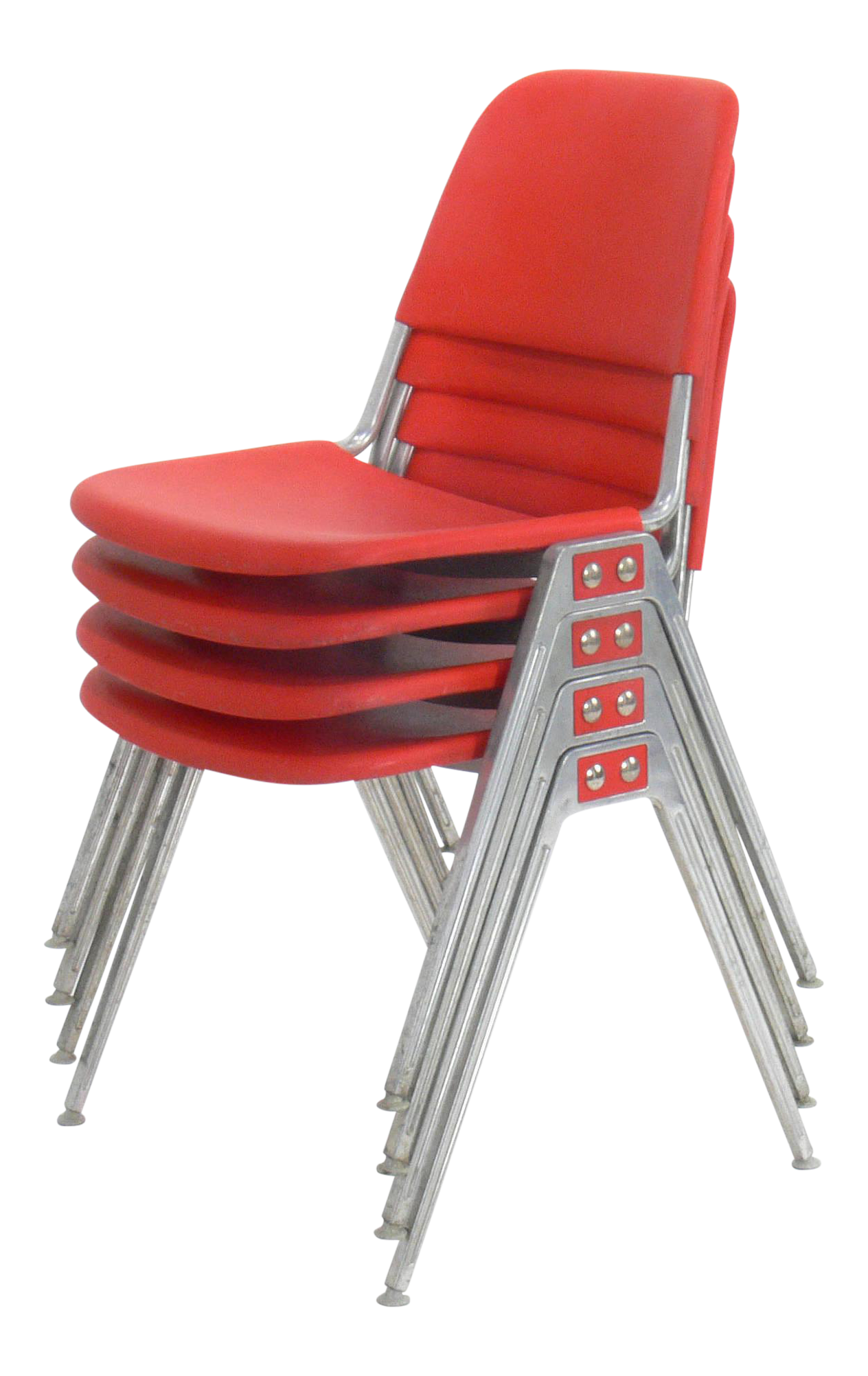 Don Albinson For Knoll Model 1601 Red Stacking Chair   Set Of 4