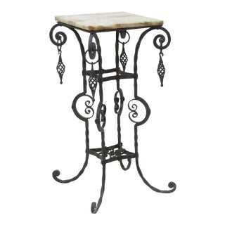 Victorian Style Iron & Marbletop Pedestal For Sale