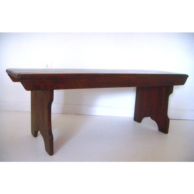 Mid 20th. Century Vintage American Two Seat Brown Pine Wood Bench For Sale - Image 4 of 7