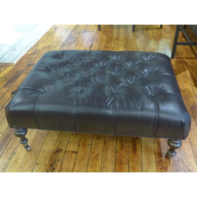 Modern Dark Leather Tufted Ottoman/Coffee Table For Sale - Image 9 of 9