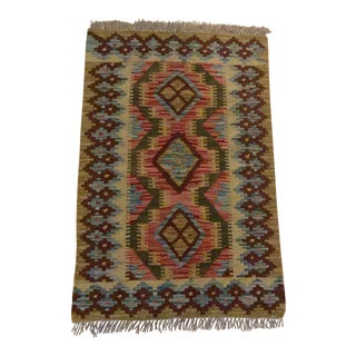Contemporary Bohemian Hand Made Wool Turkish Kilim Rug - 2' x 3' For Sale