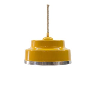 Vintage Swedish Pull Down Bright Yellow Fagerhults Ceiling Lamp For Sale