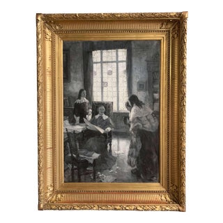 19th Century French Black and White Painting in Gilt Frame Signed Leon Fauret For Sale